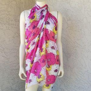 Large Floral Print Semi Sheer Sarong